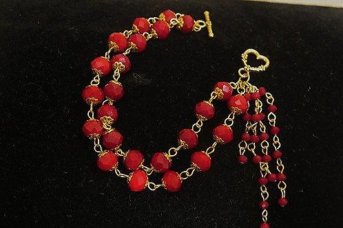 Red Leona Fringes  Bracelet