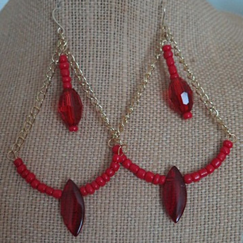 """Red """"Victoria"""" Triangle Earring"""