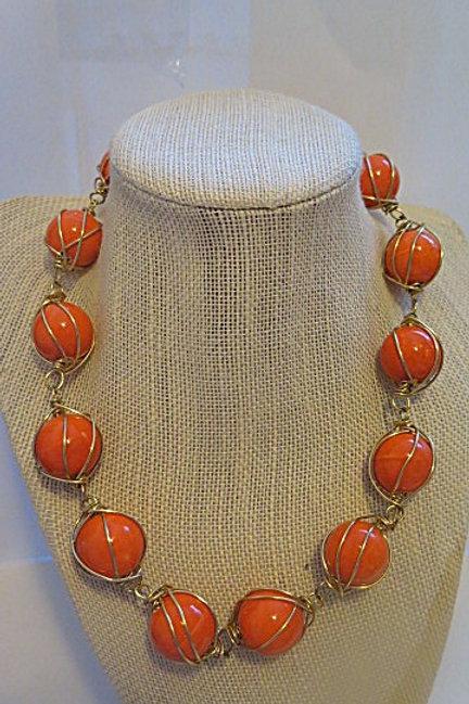 """Leona"" Orange Wire Wrap Necklace"