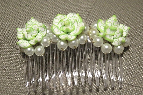Green White Hair Comb