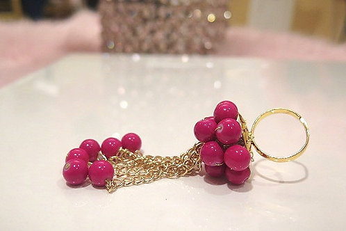 Pink Beaded Ring