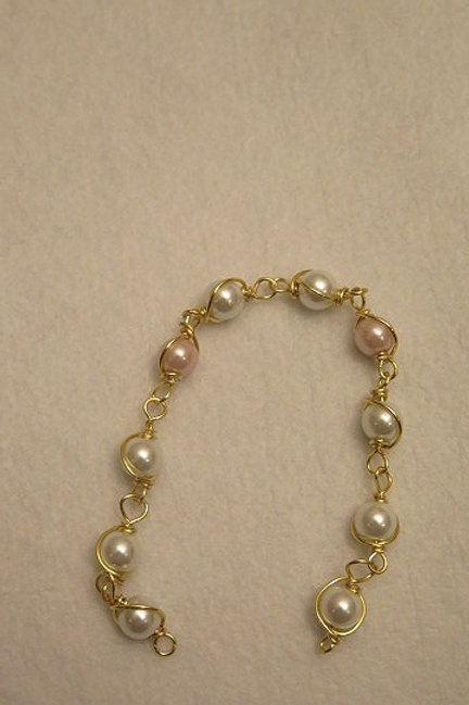 Wire Wrap Pink Loose Beads