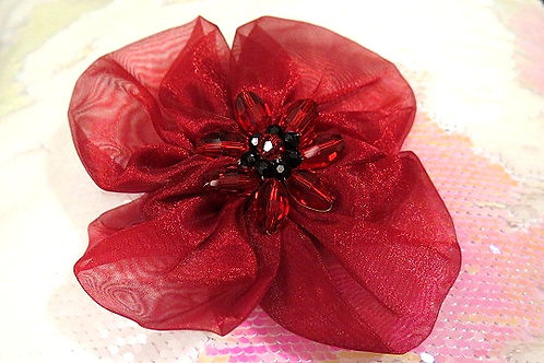 Red Hair Flower Barrette Clip