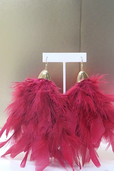 Red Gold Feather Earrings