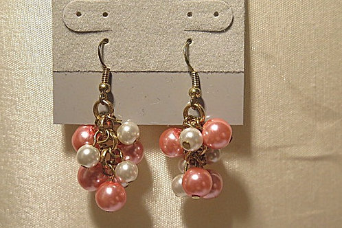 "Pink/white ""Reina"" Cluster Earring"