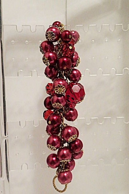 Red Chunky Cluster Bracelet