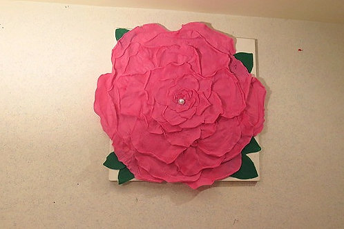 3 D Pink Rose Wall Arts