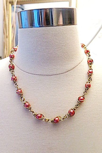 Pink Wire wrap Necklace