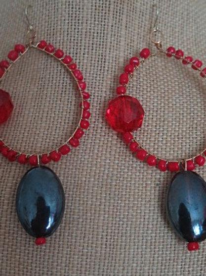 """Ziva"" Red   Earrings"
