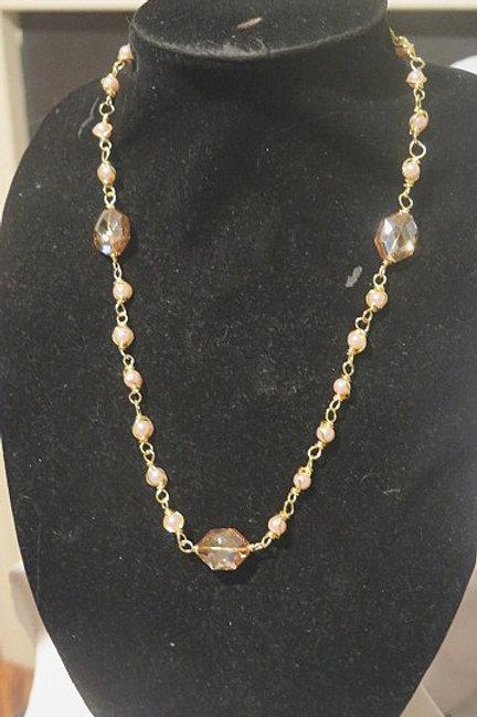 """Parisien"" Pink Pearl Necklace"