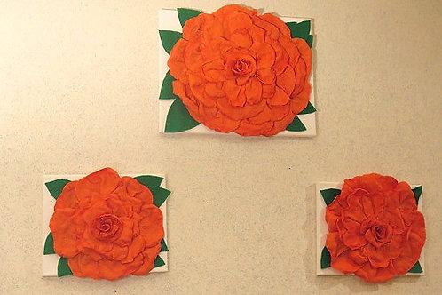 3 D Orange Rose Wall Arts
