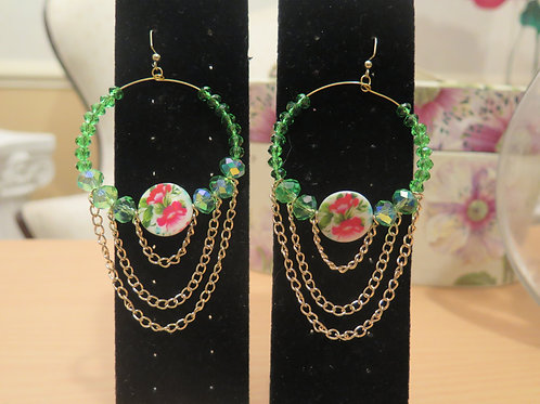 """Ziva"" Green Hoop Earring"