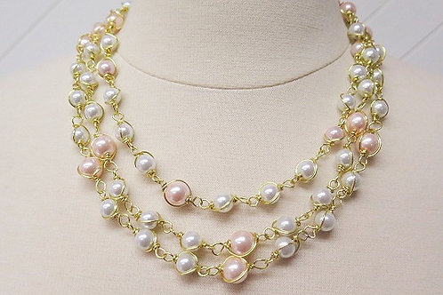 Pink White Multilayer Necklae