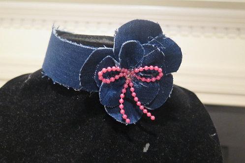 Floral Denim Necklace