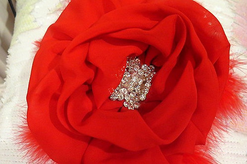 Red Feather Brooch/Hair Piece