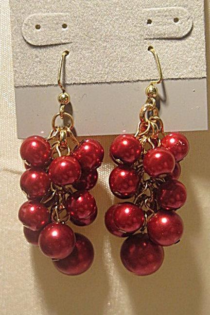 "Red ""Reine"" Cluster Earring"