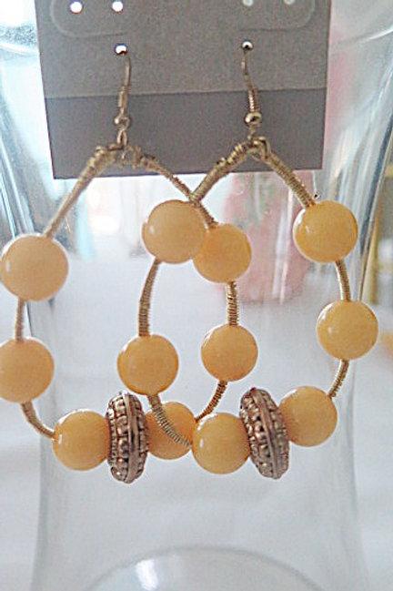 Yellow Oval Earrings