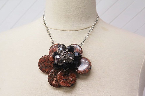 """Florette"" Brown Black Flower Necklace"