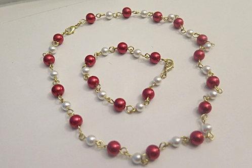 """Leona"" Red/ white Jewelry set"