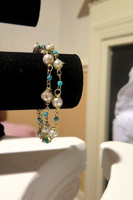 """White and blue """"Parisian"""" Wire Wrap Bracelet"""