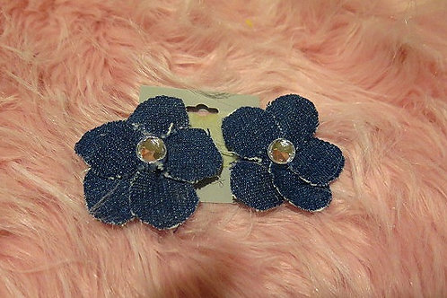 Floral Denim Earrings