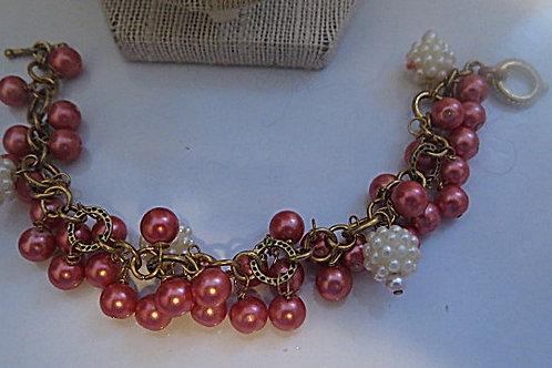 Pink Cluster necklace and Bracelet.