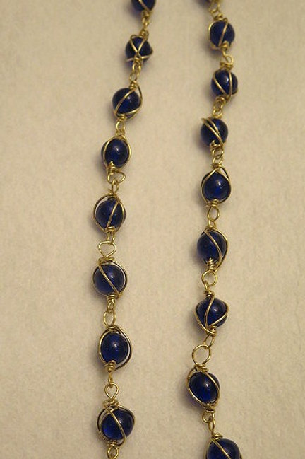 Blue Wire Wrap Loose Beads
