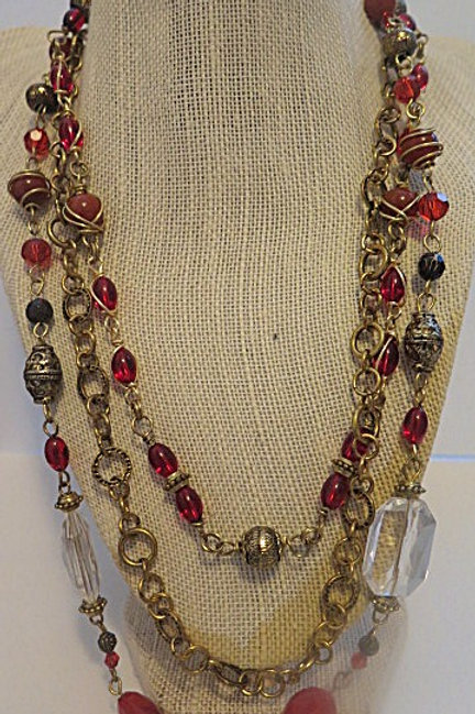 """""""Leona"""" Red Multi Stranded wire wrap Necklace"""