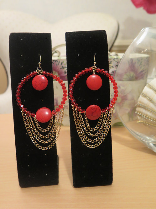 """Ziva"" Red Earrings"
