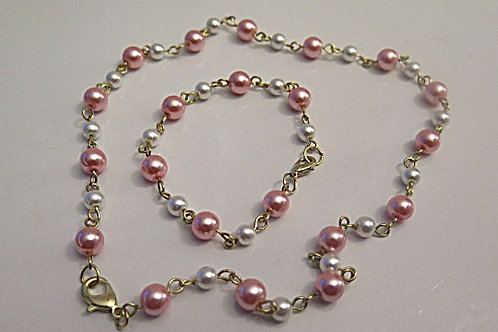 """Leona""Pink/ white Jewelry set"