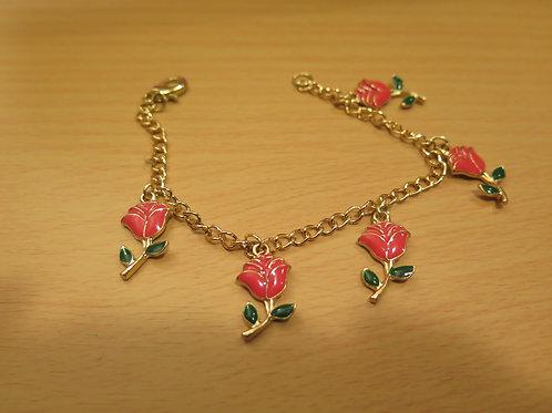 Pink Floral Charm Bracelet