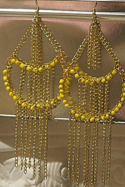 "Yellow ""Victoria"" Fringe  Earrings"