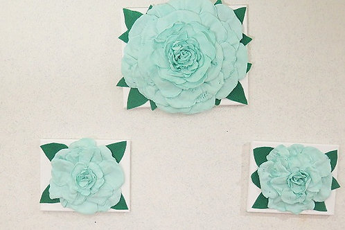 3 D Mint Rose Wall Arts