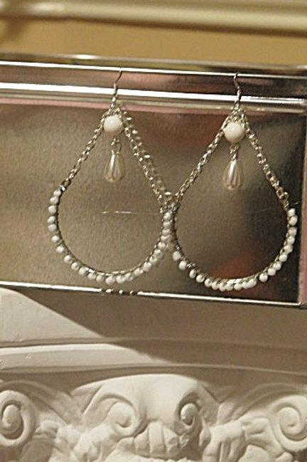 """White """"Victoria"""" Earrings"""