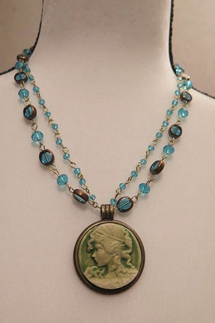 """Leona"" double Blue Necklace"
