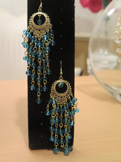 """Zelda"" Teal Blue Chandelier Earrings"