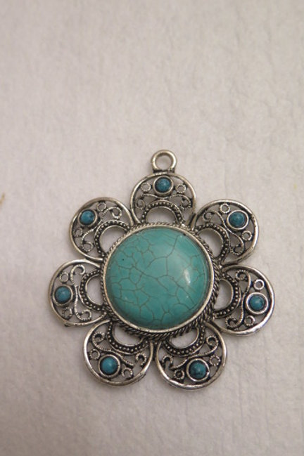 Turquoise Floral Pendant