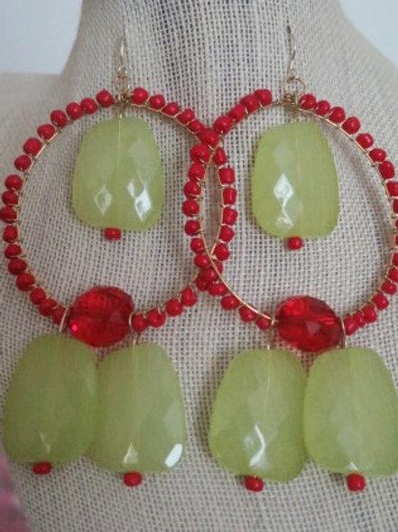 """Red """"Ziva"""" Lemon Earring"""