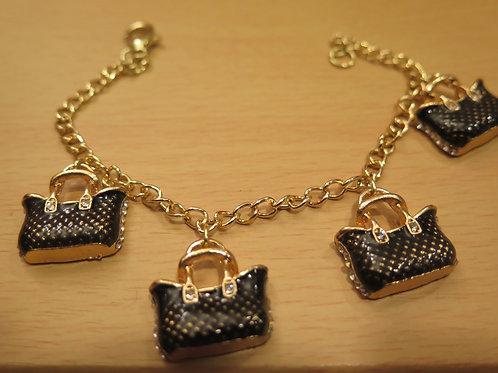 Black Purse Charm Bracelet