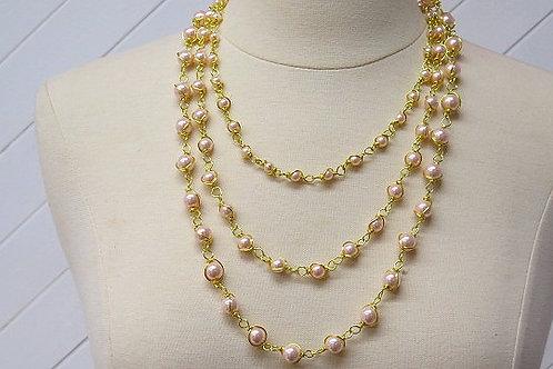 """""""Parisien"""" Pink Wire Wrap necklace"""