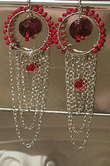 """Red """"Ziva"""" Earring"""