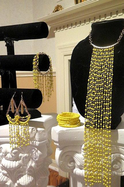"""Xiana"" Yellow Beaded Fringes Jewelry Set"