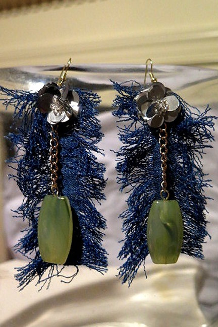 Leaf denim Earring