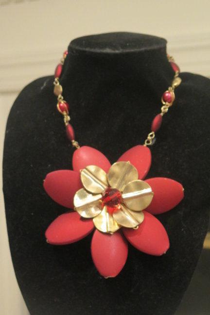 """""""Florette"""" Red Floral Necklace"""