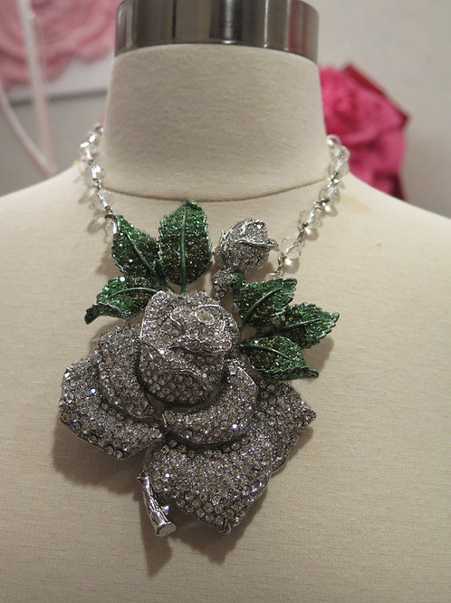 'Queen Mother' Silver Floral Necklace