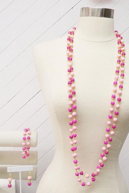 Pink fuchsia Jewelry set