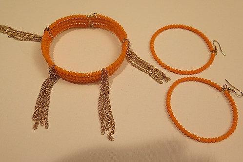 Orange Dionette bracelet and  Ziva hoop Earrings