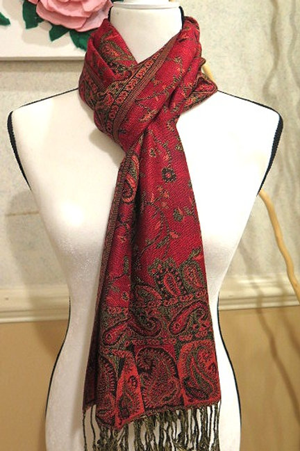 Red/ Green Pashmina Scarf