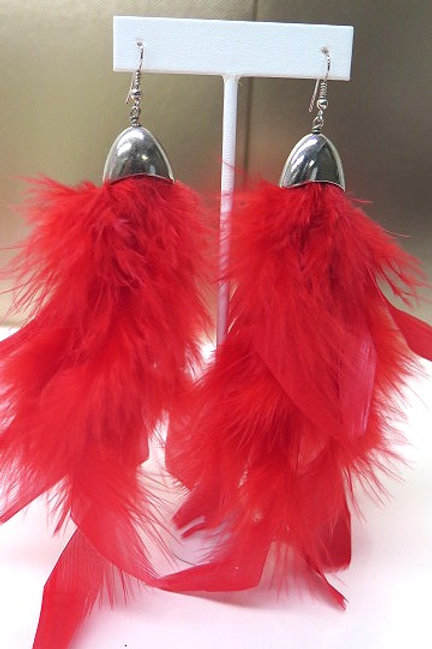 Red Silver Feather Earrings