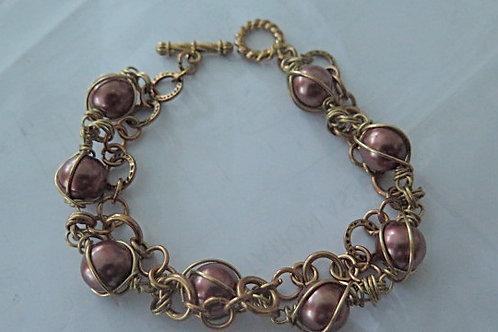 """""""Parisian""""Brown Wire Wrap Bracelet"""